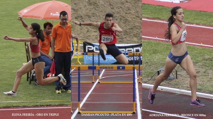El trío de medallistas del Club en el Gallego