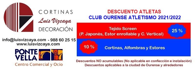 Cortinas Luis Vizcaya Decoración ofrece descuentos para atletas del Club Ourense Atletismo 2021/2022. Tejido Screen 25% y cortinas, alfombras y estores 10%
